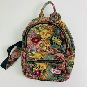 Betsey Johnson Floral Tapestry Adjustable Backpack